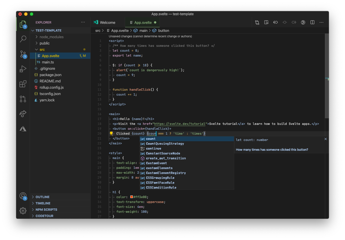 Screenshot of TypeScript in Svelte